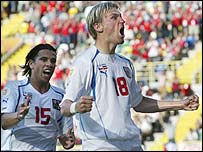 Marek Heinz and Milan Baros celebrate Czech Republic's victory