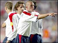 England skipper David Beckham gives directions