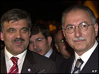 Turkish Foreign Minister Abdullah Gul (left) with Turkey's Professor Ekmeleddin Ihsanoglu