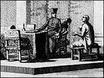 Grabado de escena de la Inquisición.