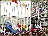 Crowds at the European Parliament