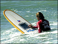 Surfer test runs the hi-tech board