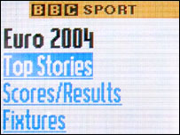 Screen shot from the Euro 2004 service