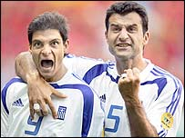 Angelos Charisteas (left) and Traianos Dellas celebrate Greece's goal 