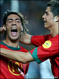 Rui Costa and Cristiano Ronaldo celebrate Portugal's second goal in the 2-0 win over Russia
