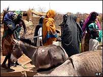 Displaced women from the Darfur region in Sudan