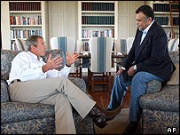 President George Bush entertains Ambassador Bandar Bin Sultan at his Texas ranch