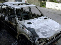 Burnt-out car