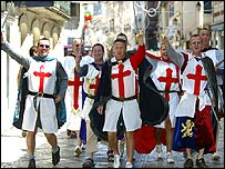 England fans dressed as St George
