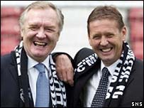 Davie Hay arrives at Dunfermline with assistant Billy Kirkwood