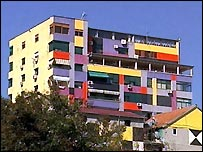 Painted building, Tirana