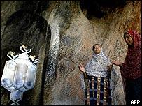 Zoroastrian worshippers pray at the ancient Chakchak temple