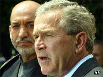 Hamid Karzai meets George Bush in Washington,  June 2004