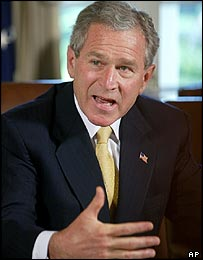 Bush speaking to reporters about links between Saddam Hussein and al-Qaeda