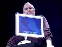 Jobs launching the new iMac in 2002
