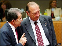 Romano Prodi (l) speaks to Jacques Chirac in Brussels