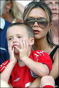 David Beckham's wife Victoria and son Brooklyn