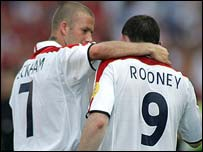 David Beckham with Wayne Rooney