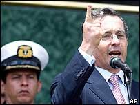 President Alvaro Uribe during a military ceremony in June 2004