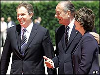 Tony Blair and his wife Cherie with Jacques Chirac
