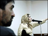 Khani looks on as Shahla Jahed argues for her life in court