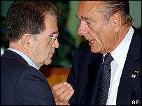 Jacques Chirac with Romano Prodi