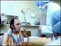 Derrick Morris back in 1980 in Harefield Hospital
