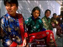 Bhutanese women in national dress