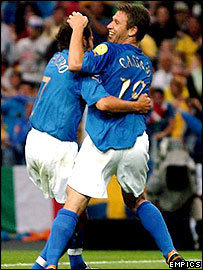 Cassano (right) celebrates his goal