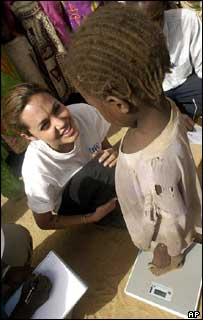 Angelina Jolie with Sudanese child