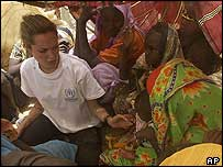 Angelina Jolie at refugee camp in Chad