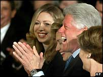 Chelsea, Hillary and Bill Clinton