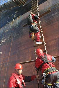Greenpeace boarding the ship