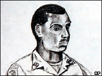 Sketch of Sgt Javal Davis in court
