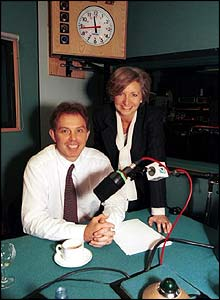 Sue Lawley with Tony Blair during Desert Island Discs in 1996