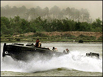 British military boat patrolling in the Shatt al-Arab river