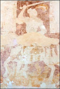 The wall painting of St George in St Cadoc's (pic courtesy of Cadw)