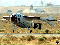 SpaceShipOne lands after historic space trip