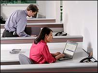Woman using wi-fi laptop
