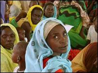 Women and children at a camp in West Darfur