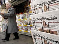 Copies of the Telegraph on sale at a London newsagent