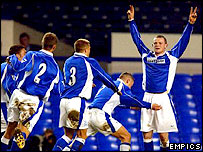Wayne Rooney was the star of Everton's run to the 2002 FA Youth Cup final