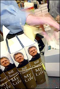 Bill Clinton's autobiography on sale in US shop.