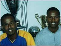 Somali internationals Abdulkadir Sheikh Othman on the left with Issa Aden