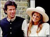 Imran Khan and Jemima Goldsmith on their wedding day