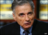 Independent presidential candidate Ralph Nader