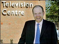 Mark Thompson outside BBC Television Centre