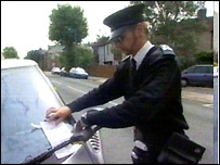 Parking warden in Brighton