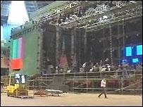 Concert being set up at the Millennium Stadium