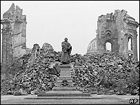 The ruins of Dresden's Frauenkirche